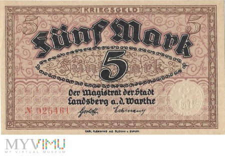 5 Mark 1918 r - Landsberg a.d.Warthe/ Gorzow Wlkp