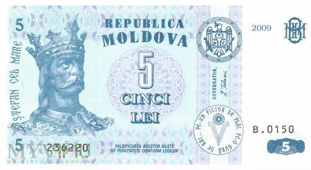 Mołdawia - 5 lei (2009)