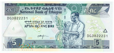 Etiopia - 5 birrów (2017)