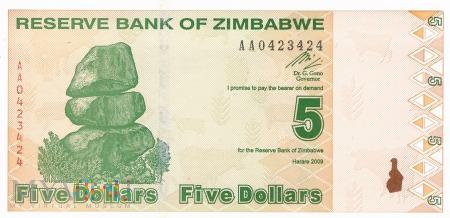 Zimbabwe - 5 dolarów (2009)