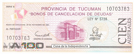 Argentyna (Tucumán) - 100 australi (1991)