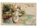 Nowy Rok 1900 pocztówka pod światło mapa świata