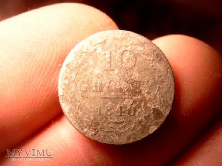 Moneta 10 groszy z 1840 roku.