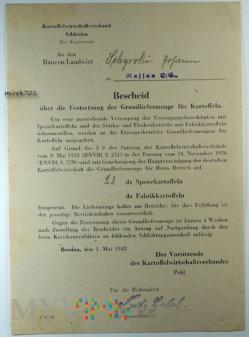 Bescheid Kartoffelwirtschaftsverband Schlesien 43