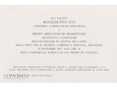 Zaproszenie na Sakrę Bpią Arcybiskupa Mokrzyckiego