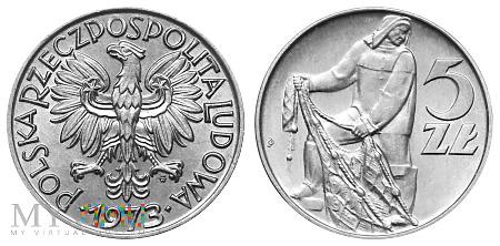 """Duże zdjęcie 5 złotych, 1973, tzw. """"Rybak"""", typ B"""