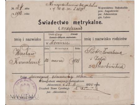 Świadectwo metrykalne-Adamowicze 1930.