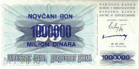 Bośnia i Hercegowina - 1 000 000 dinarów (1993)