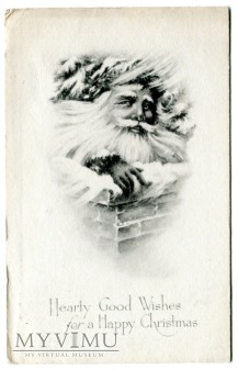 Święty Mikołaj amerykański c. 1918 pocztówka