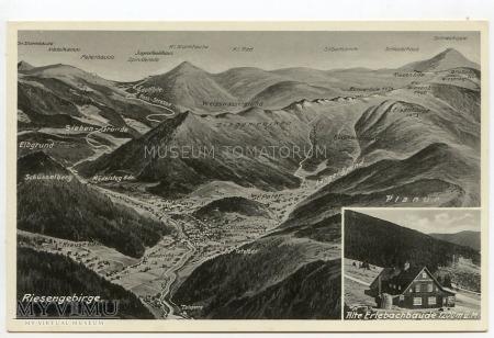 Duże zdjęcie Karkonosze - Riesengebirge - mapa 3D - lata 30-te