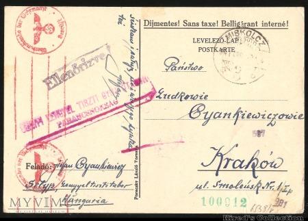 Formularz pocztowy wysłany z Węgier do GG