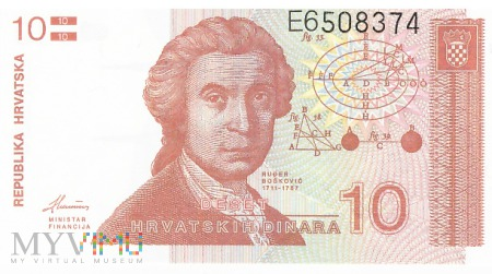 Chorwacja - 10 dinarów (1991)