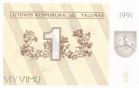 Litwa - 1 talon (1991)