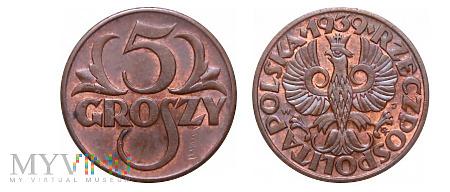 Duże zdjęcie Polska - 5 groszy 1939r.