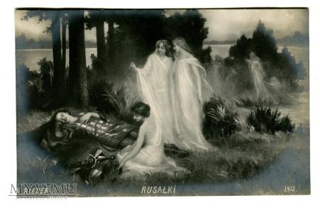 1910 Rusałki debatują nad śpiącym rycerzem