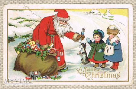 Wesołych Świąt mikołaj dużo prezentów piesek