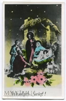 Duże zdjęcie Wesołych Świąt PRL Karta Święta Rodzina