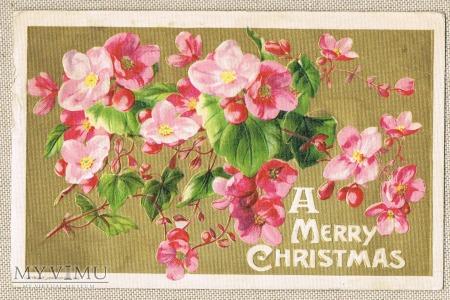 1910 Wesołych Świąt motyw kwiatowy.