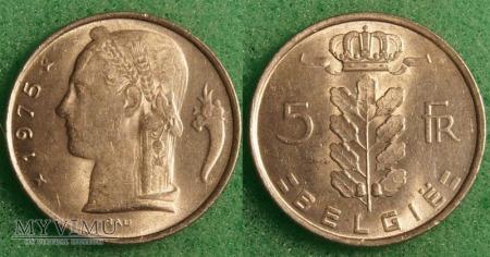 Belgia, 5 Francs 1975