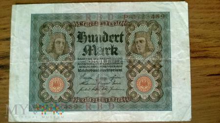 100 ℳ - Niemiecki papiermark 1920r.