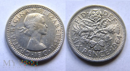 Wielka Brytania, SIX PENCE 1964