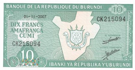 Burundi - 10 franków (2007)