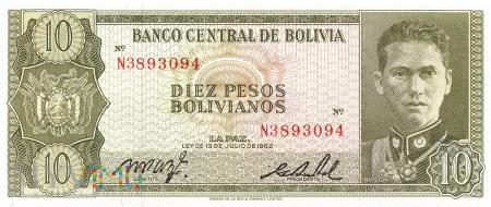 Boliwia - 10 pesos (1962)