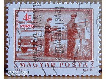 Duże zdjęcie Samochód i listonosze, znaczek węgierski