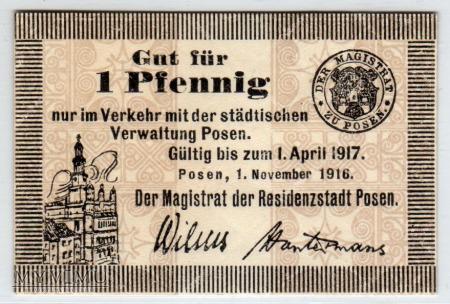 01.11.1916 - 1 Pfennig - Poznań
