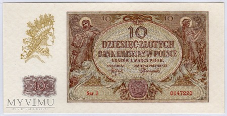 01.03.1940 - 10 Złotych