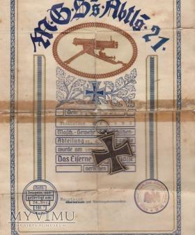 Nadanie Orderu Krzyża Żelaznego II klasy w I WŚ