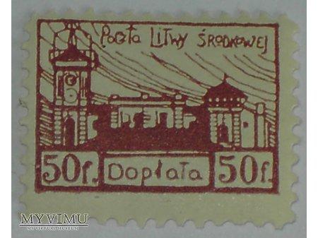 Dopłata 50 f znaczek z Litwy Środkowej