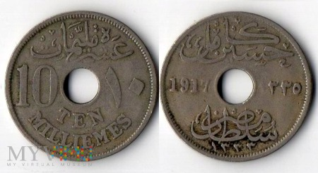Egipt, 10 milliemes 1917