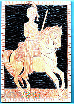 drewniana płaskorzeźba - oficer na koniu