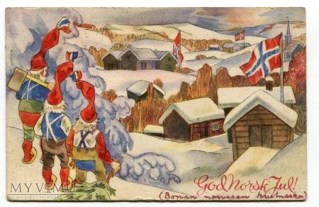 Duże zdjęcie 1945 Wesołych Świąt Norwegia, krasnale i flagi