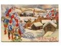 1945 Wesołych Świąt Norwegia, krasnale i flagi