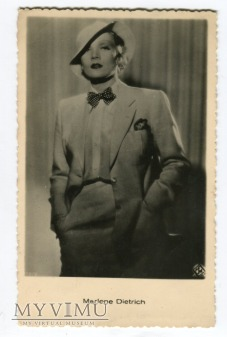 Marlene Dietrich pocztówka z Łotwy l. 30-te