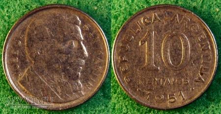 Argentyna, 10 centavos 1951