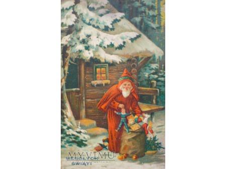 Święty Mikołaj z zabawkami Wesołych Świąt 1932