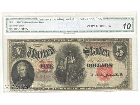 5 USD 1907 Gradingowany