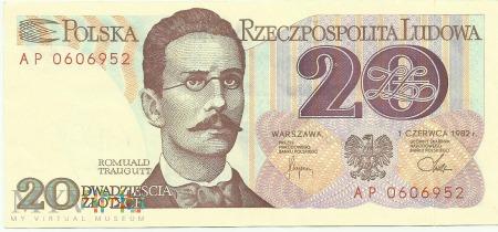 Banknot 20 złotych 1 czerwca 1982