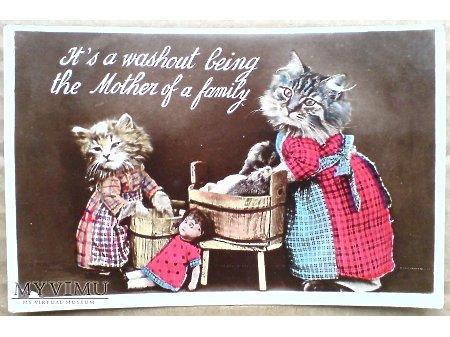1930 Koty uczłowieczone lalka i PRACE DOMOWE