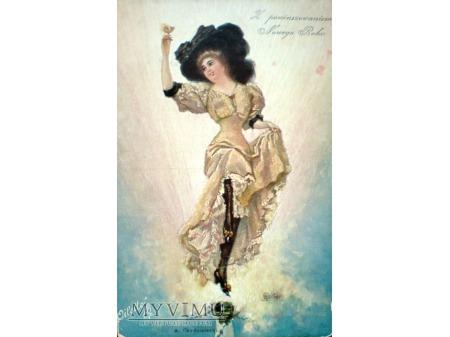 Duże zdjęcie Dama z kieliszkiem szampana Raphael Tuck's & Sons