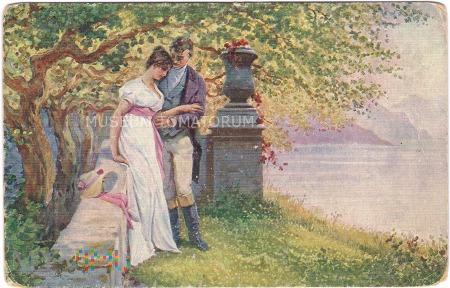 On i Ona w zamkowym parku - I ćw. XX w.