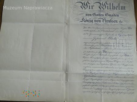 Patent podpisany przez cesarza niemieckiego