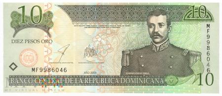 Dominikana - 10 pesos oro (2003)