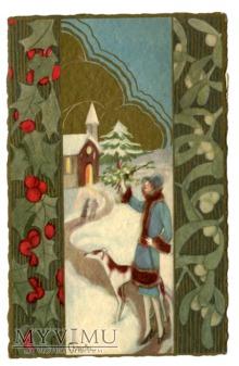 1931 Wesołych Świąt Sofia Chiostri Włochy Art Deco