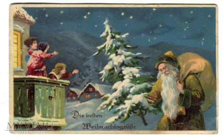 Duże zdjęcie Święty Mikołaj Green Robe Santa Claus St Nicholas