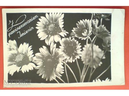 1957 DZIANWA Imieniny Pocztówka kwiaty PRL