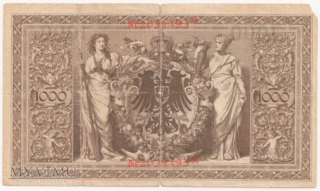 Reichsbanknoten 1876 - 1914 ; 1000 Mark 1910 rok